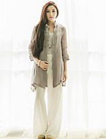 Ramie Cotton Women's Casual/Daily Vintage Spring / Summer JacketsSolid Stand  Sleeve Gray Others Thin