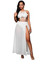 Women's White Floral Applique Sheer Bodysuit Dress