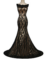 Formal Evening Dress Trumpet / Mermaid Bateau Sweep / Brush Train Lace / Satin with Lace