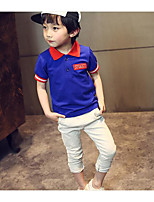 Boy's Casual/Daily Solid TeeCotton Summer Blue / Red