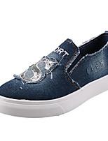 Feminino-Mocassins e Slip-Ons-Conforto-Rasteiro-Azul-Lona / Jeans-Ar-Livre / Casual