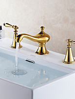 Contemporary/Antique Deck Mounted Widespread Ceramic Valve Two Handles Three Holes Gold Ti-PVD Bathroom Sink Faucet