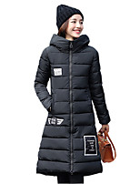 Women's Patchwork Cotton-padded Ultra Long Over-the-knee Coat Jacket Cute / Street chic Hooded Bulb