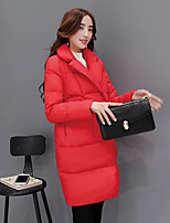 Women's Solid Red Padded CoatSimple / Cute / Street chic Stand Long Sleeve