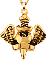 New Trendy Unique Charm Big Angel Design 18K Gold/ Platinum Plated Pendant Necklace For Men Party Gift P30169