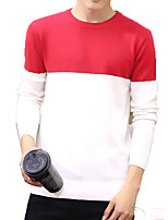 Men's Color Block Casual / Sport PulloverCotton Long Sleeve Black / Green / White / Gray