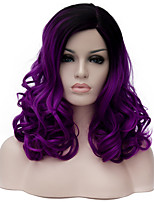 Purple long curly hair and the wind nightclub performances Street color million with partial wig.