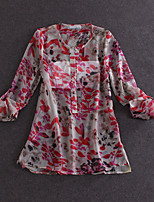 Boutique S Women's Going out Vintage Summer ShirtFloral Round Neck Long Sleeve Red Silk Thin