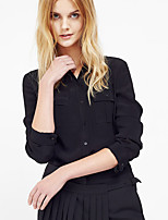 C+IMPRESS Women's Going out Simple Spring / Fall T-shirtSolid / Striped V Neck Long Sleeve Black Rayon Medium