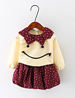 Girl's Casual/Daily Patchwork Dress / Blouse / Clothing SetCotton Spring / Fall Red