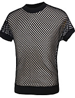 Men's Summer Casual Sport Cotton Hollow Mesh Short Sleeve Cool And Comfortable Round Neck  T-Shirt
