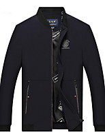 Men's Long Sleeve Casual JacketCotton / Polyester Solid Black / Blue / Red