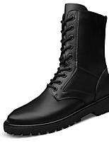 Unisex Boots Fall / Winter Comfort Cowhide Casual Flat Heel  Black Sneaker