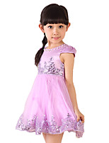 Girl's Casual/Daily Solid DressRayon Summer Pink / Purple