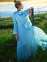 Женский На каждый день Простое Свободный силуэт Платье Однотонный,Капюшон Макси Длинный рукав Синий Лён Осень Со стандартной талией