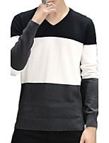 Men's Color Block Casual / Sport PulloverCotton Long Sleeve Black / Green / Red