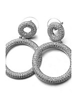 Earring Circle Drop Earrings Jewelry Women Fashion Daily / Casual Alloy / Zircon 1pc Silver