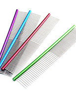 Cat / Dog Grooming Comb Pet Grooming Supplies Portable Red / Green / Blue / Purple Stainless Steel