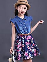 Vestido Chica de-Casual/Diario-Retazos-Algodón-Verano-Azul