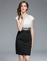 MASA  Women's Plus Size / Going out Street chic Sheath DressPatchwork Round Neck Above Knee Short Sleeve