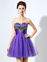 Cocktail Party Dress A-line Sweetheart Short / Mini Tulle with Crystal Detailing / Sequins