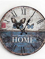 Modern/Contemporary / Country / Casual Family Wall ClockRound Wood 35*35*3 Indoor/Outdoor / Indoor / Outdoor Clock