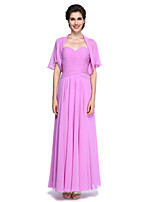 A-line Mother of the Bride Dress - Elegant Ankle-length Short Sleeve Chiffon with Criss Cross