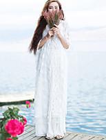 Женский На каждый день Лето Куртка V-образный вырез,Простое / Шинуазери (китайский стиль) Однотонный Белый Рукав ½,Другое,Плотная