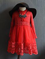Vestido Chica de-Casual/Diario-Un Color-Poliéster-Primavera / Otoño-Rojo / Gris