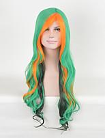 las mujeres de múltiples colores verdes de moda las pelucas sintéticas peluca de cosplay de onda larga