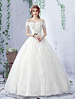 Ball Gown Wedding Dress Floor-length Off-the-shoulder Lace / Tulle with Beading / Lace