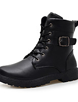 Men's Combat Boots PU Outdoor Flat Heel Buckle / Zipper / Lace-up Black / White Snow Boots EU39-43