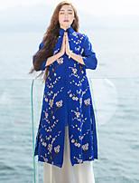 Damen Stickerei Chinoiserie Lässig/Alltäglich Jacke,Ständer Frühling / Sommer ¾-Arm Blau Seide / Leinen Undurchsichtig