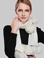 Women Acrylic ScarfCasual RectangleRed / White / BeigeSolid