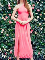 Damen Hülle Kleid-Strand Sexy Solide Ein-Schulter Maxi Ärmellos Rot Polyester Sommer / Herbst Mittlere Hüfthöhe Unelastisch Dünn