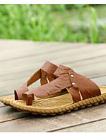 Men's Sandals Spring Summer Fall Cowhide Fur Outdoor Flat Heel Blue Brown Walking