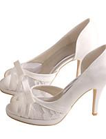 Women's Sandals Spring /  Platform Stretch Satin Wedding / Party & Evening / Dress Stiletto Heel Bowknot Ivory / White