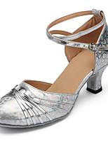 Chaussures de danse(Rouge / Argent) -Personnalisables-Talon Bottier-Cuir Verni-Latine / Moderne