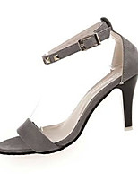 Women's Sandals Summer Sandals Fleece Casual Stiletto Heel Buckle Black / Gray Others