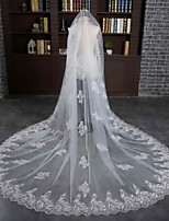 Wedding Veil One-tier Cathedral Veils Lace Applique Edge Tulle / Lace Ivory