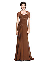 Lanting Bride®Sheath / Column Mother of the Bride Dress Sweep / Brush Train Short Sleeve Chiffon withBeading / Sash / Ribbon / Side Draping / Criss