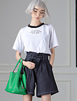 ROOM404  Women's Casual/Daily Simple Summer T-shirtEmbroidered Crew Neck Length Sleeve