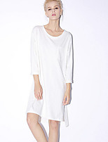 NEW BEFORE  Women's Casual/Daily Simple Loose DressSolid Round Neck Above Knee Long Sleeve White