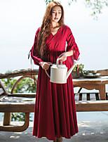 Женский На каждый день Простое / Шинуазери (китайский стиль) Свободный силуэт Платье Однотонный,V-образный вырез Макси Рукав ¾ Красный Лён