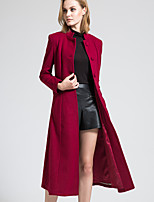 BORME Women's Stand Long Sleeve Wool & Blends Black / Burgundy-W011