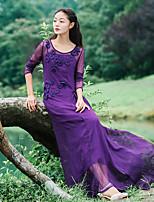 Damen Swing Kleid-Ausgehen / Formal Anspruchsvoll Solide Rundhalsausschnitt Maxi Langarm Lila Seide Sommer Hohe Hüfthöhe Mikro-elastisch