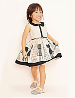 Girl's Casual/Daily Print DressCotton Summer Beige