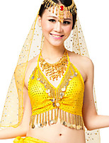 Belly Dance Tops Women's Performance Chiffon Sequins 1 Piece  Belly Dance Sleeveless Natural