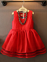 Girl's Casual/Daily Solid DressPolyester Summer Red