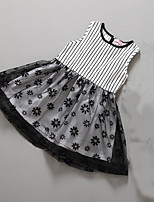 Girl's Casual/Daily Striped DressCotton Summer Black / White